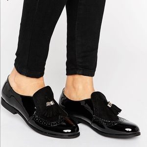 ASOS Black and Gold Tassels High Cut Loafers